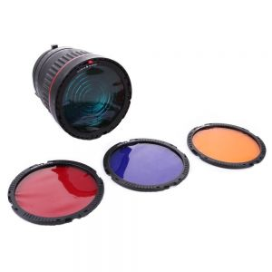 Fotga 10x Focus Bowens Mount Lens Studio Light Condenser Mount Adjust + 4 Colorful Filters for Flash LED Light