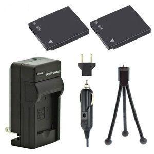 Two DMW-BCK7 Batteries Plus One DE-A91B Charger Kit & Mini-Tripod Combo for Panasonic Lumix DMC-TS25, DMC-TS20, DMC-SZ7, DMC-FH25, DMC-FH27, DMC-SZ1 and More Cameras
