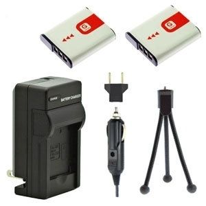 Two NP-FG1 NP-BG1 Batteries, Charger & Mini-Tripod for Sony Cameras
