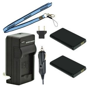 Two IA-BH130LB Batteries, Charger & Neck Strap for Samsung Camcorders