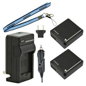 Two DMW-BLG10 Batteries, Charger & Neck Strap for Panasonic Lumix Cameras