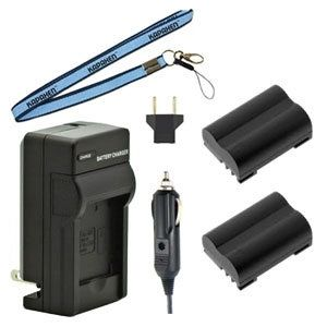 Two New BLM-1 Batteries Plus One Charger Kit & Neck Strap Combo for Olympus Cameras