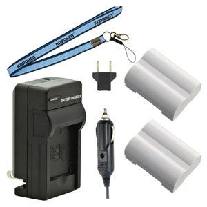 Two BLM-5 Batteries, Charger & Neck Strap for Olympus Cameras