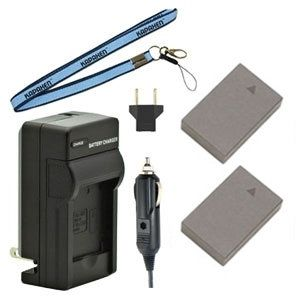 Two BLS-50 BLS-5 Batteries, Charger & Neck Strap for Olympus Cameras