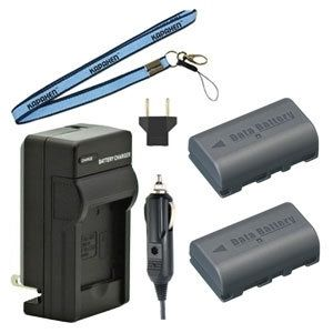 Two BN-VF808 Batteries, Charger & Neck Strap for JVC Camcorders