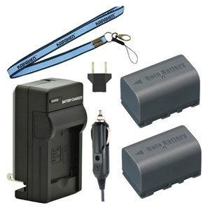 Two BN-VF815 Batteries, Charger & Neck Strap for JVC MiniDV and Everio Camcorders