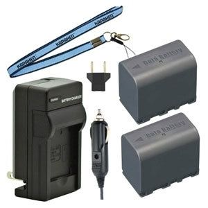 Two New BN-VF823 Batteries Plus One Charger Kit & Neck Strap Combo for JVC MiniDV and Everio Camcorders