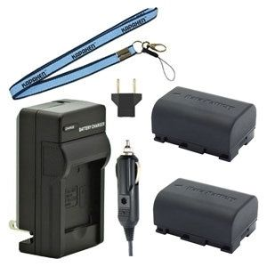 Two BN-VG107 Batteries, Charger & Neck Strap for JVC Camcorders