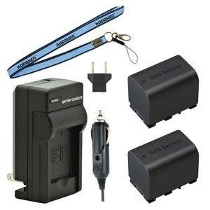Two BN-VG121 Batteries, Charger Kit & Neck Strap for JVC Camcorders