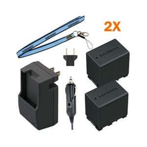 Two BN-VG138 DATA Batteries, Charger & Neck Strap for JVC Everio Camcorders