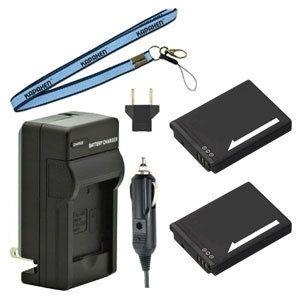 Two BN-VH105 Batteries, Charger & Neck Strap for JVC GC-XA1 & GC-XA2 ADIXXION Action Cameras