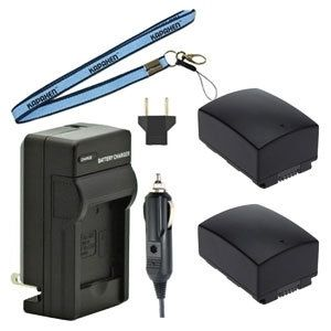 Two IA-BP105R Batteries, Charger & Neck Strap for Samsung Camcorders