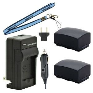Two IA-BP210R Batteries, Charger & Neck Strap for Samsung Camcorders