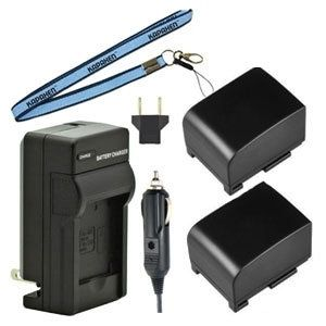 Two New BP-809 Batteries, Charger & Neck Strap for Canon Camcorders