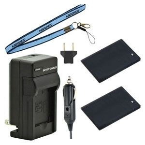 Two IA-BP90A Batteries, One Charger & Neck Strap for Samsung HMX-E10 HMX-E15 HMX-P100 Pocket Camcorders