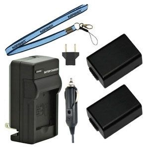Two BP-DC9 Batteries, One Charger & Neck Strap for Leica V-Lux 2 and V-Lux 3 Cameras