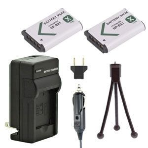 Two NP-BX1 Batteries, One Charger & Mini-Tripod for Sony Cameras and Camcorders