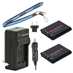 Two New NP-110 Batteries Plus One Charger Kit & Neck Strap Combo for Casio Exilim EX-Z2000 EX-ZR10 EX-Z2300 EX-Z3000 and More Cameras