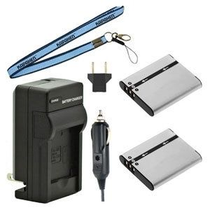 Two NP-150 Batteries, One Charger & Neck Strap for Casio Exilim EX-TR10, EX-TR15, EX-TR35, EX-TR300, EX-TR350, EX-TR500, & TX-TR550 Cameras