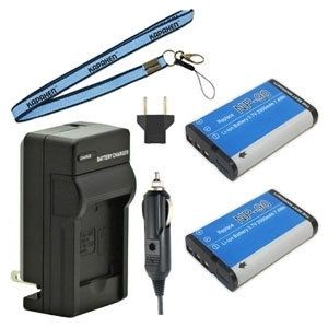 Two NP-90 Batteries Plus One Charger Kit & Neck Strap Combo for Casio Exilim EX-H10 EX-H15 EX-H20 EX-FH100 EX-H20G Cameras