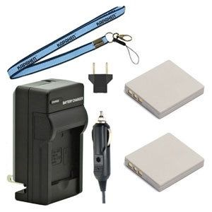 Two DB-L20 Batteries, One Charger & Neck Strap for Sanyo Cameras and Camcorders