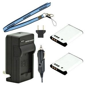 Two DB-L80 DB-L80A DB-L80AU Batteries, One Charger & Neck Strap for Sanyo Cameras and Camcorders