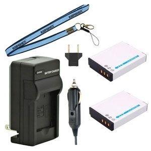 Two EN-EL12 Batteries, Charger & Neck Strap for Nikon Cameras
