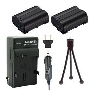 Two EN-EL15 Batteries, MH-25 / MH-25A Charger & Mini-Tripod for Nikon SLR Cameras
