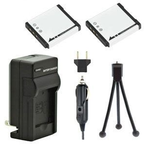 Two New NP-50 Rechargeable Batteries Plus One Charger Kit & Mini-Tripod Combo for Fujifilm Digital Cameras