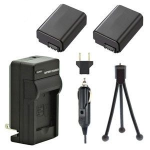 Two NP-FW50 Batteries, One Charger, & Mini-Tripod for Sony Alpha NEX and SLT Cameras