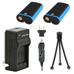 Two KLIC-8000 Batteries, Charger & Mini-Tripod for Kodak Cameras