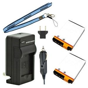 Two New KLIC-7003 Batteries Plus One Charger Kit & Neck Strap Combo for Kodak Easyshare Cameras