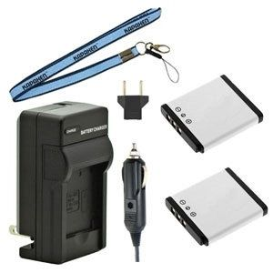Two New KLIC-7004 Batteries Plus One Charger Kit & Neck Strap Combo for Kodak Easyshare Cameras