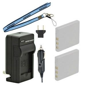 Two New KLIC-7005 Batteries Plus One Charger Kit & Neck Strap Combo for Kodak Easyshare C763 Cameras