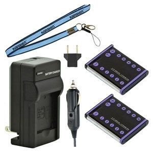 Two New KLIC-7006 Batteries Plus One Charger Kit & Neck Strap Combo for Kodak Easyshare Cameras