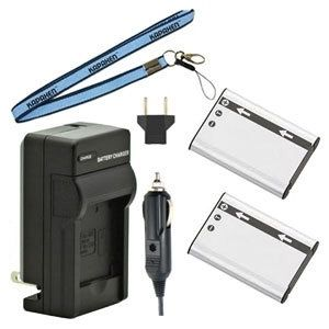 Two New LI-60B Batteries Plus One Charger Kit & Neck Strap Combo for Olympus FE-370 Cameras