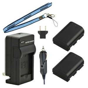 Two LP-E6N / LP-E6 Batteries, Charger & Neck Strap for Canon EOS Cameras and Camcorders
