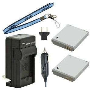 Two NB-6L / NB-6LH Batteries, One Charger & Neck Strap for Canon Powershot Cameras