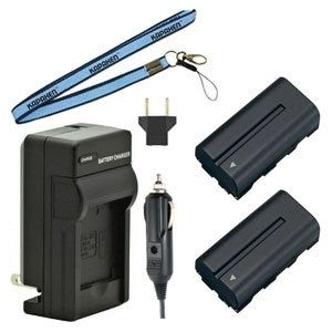 Two NP-F550 NP-F570 InfoLithium L Series Batteries, Charger & Neck Strap for Sony Cameras and Camcorders