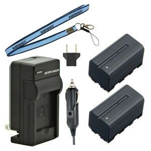 Two New NP-F730 / NP-F750 / NP-F760 / NP-F770 InfoLithium L Series Batteries Plus One Charger Kit & Neck Strap Combo for Sony Camcorders