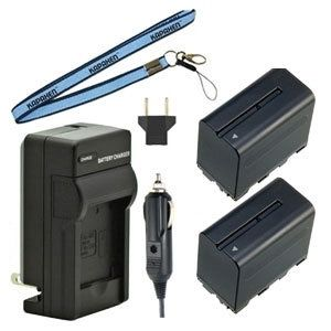 Two New NP-F970 / NP-F960 / NP-F950 InfoLithium L Series Batteries Plus One Charger Kit & Neck Strap Combo for Sony Camcorders