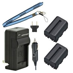 Two NP-FM500H Batteries, Charger & Neck Strap for Sony Alpha SLT Cameras