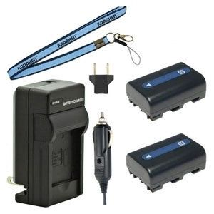 Two NP-FM50 Batteries, Charger & Neck Strap for Sony Camcorders
