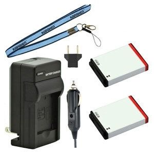 Two New SLB-10A Batteries Plus One Charger Kit & Neck Strap Combo for Samsung Cameras and Camcorders