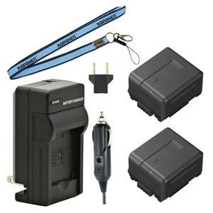 Two VW-VBG070 Batteries, Charger Kit and Neck Strap for Panasonic Camcorders