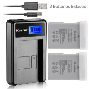 Replacement 2 Battery + USB LCD Charger for Nikon EN-EL14A EL14A, Nikon Coolpix P7800