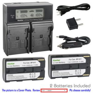 Replacement Battery LCD Dual Fast Charger for Canon BP-911 and Canon UCX45Hi, UCX50