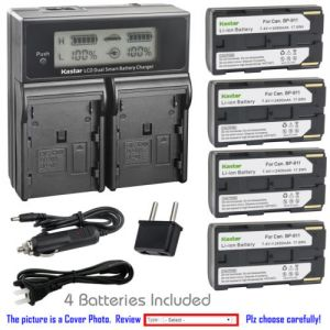 Replacement Battery LCD Dual Fast Charger for Canon BP-911 and Canon Ultura, V40, V400