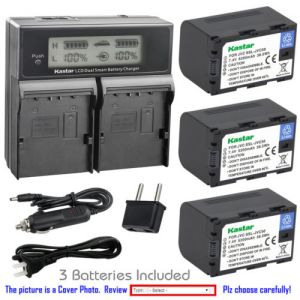 Replacement Battery LCD Dual Fast Charger for JVC SSL-JVC50 and JVC GY-HM620U Camcorder