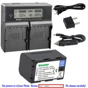 Replacement Battery LCD Dual Fast Charger for JVC SSL-JVC50 JVC GY-HM650SC Camcorder